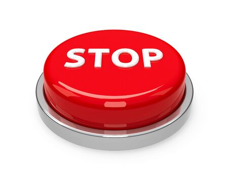 Red stop button isolated on white background, three-dimensional rendering, 3D illustration Stock Photo