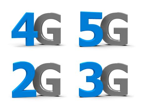 5g: Blue and grey 5g, 4g, 3g, 2g symbols, icons or buttons isolated on white background, three-dimensional rendering, 3D illustration