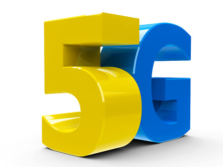5g: Yellow and blue 5g symbol, icon or button isolated on white background, three-dimensional rendering, 3D illustration