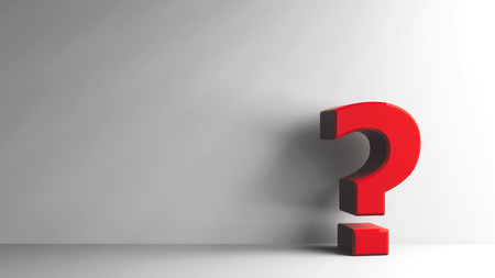 Red Question mark on grey background, three-dimensional rendering, 3D illustration