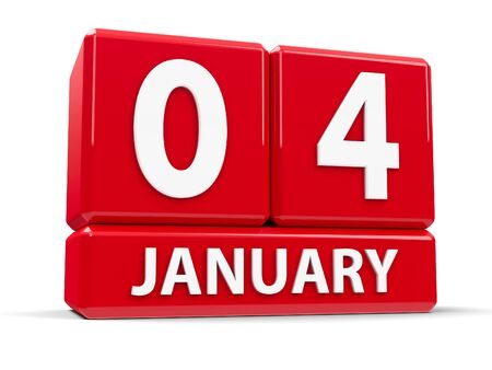 calendar date: Red cubes - The Fourth of January - on a white table, three-dimensional rendering, 3D illustration