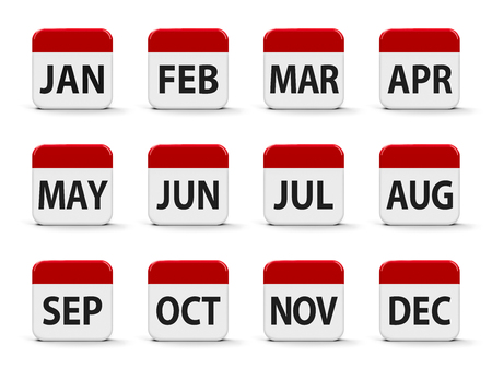 Months calendar web buttons, three-dimensional rendering, 3D illustration