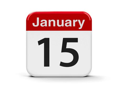 fifteenth: Calendar web button - The Fifteenth of January, three-dimensional rendering, 3D illustration Stock Photo