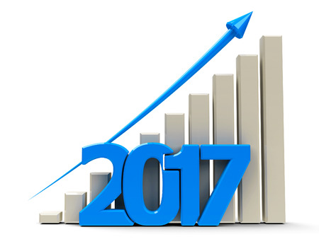 Blue business graph with blue arrow up, represents growth in the year 2017, three-dimensional rendering, 3D illustration Stock Photo