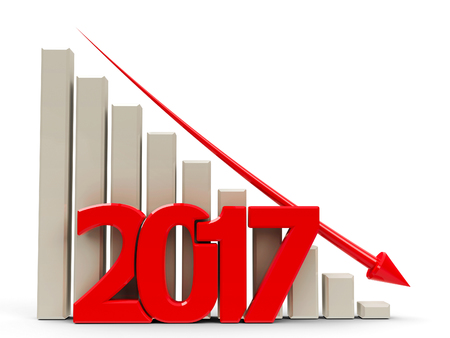 regress: Red business graph with red arrow down, represents decrease in the year 2017, three-dimensional rendering, 3D illustration
