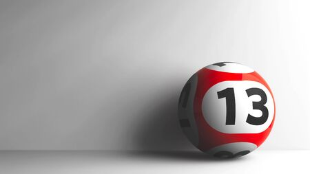 thirteen: Red lottery ball with number 13 on grey background, three-dimensional rendering, 3D illustration