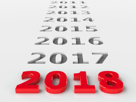 2018 past represents the new year 2018, three-dimensional rendering, 3D illustration