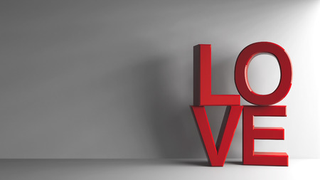 Red word love on grey background, represented love and Valentines day, three-dimensional rendering, 3D illustration