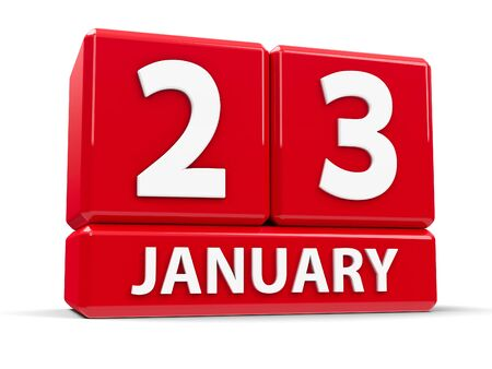 20 23 years: Red cubes - The Twenty Third of January - on a white table - National Handwriting Day, three-dimensional rendering, 3D illustration Stock Photo