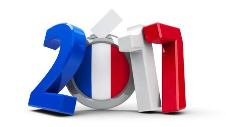 presidency: Figures 2017 in the colors of french flag with badge isolated on white background, represents Presidential Election 2017 in France, three-dimensional rendering, 3D illustration