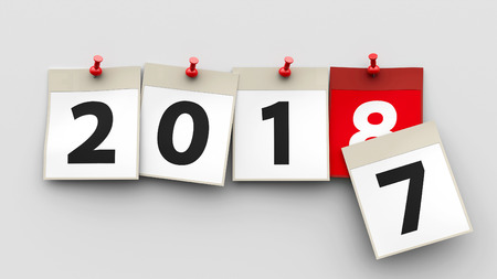 I fogli di calendario con il perno rosso e i numeri 2018 su sfondo grigio rappresentano l'inizio nuovo anno 2018, rendering tridimensionale, illustrazione 3D