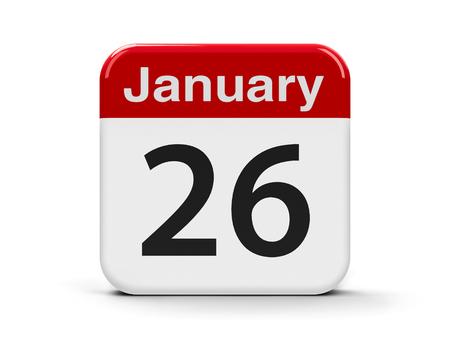 twenty sixth: Calendar web button - The Twenty Sixth of January - International Customs Day, Australia Day and Republic Day in India, three-dimensional rendering, 3D illustration Stock Photo