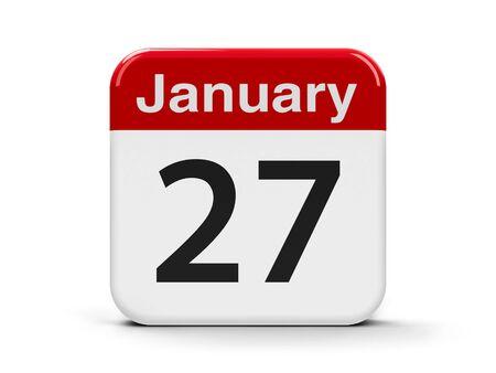 holocaust: Calendar web button - The Twenty Seventh of January - International Holocaust Remembrance Day, three-dimensional rendering, 3D illustration