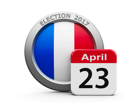 Emblem of France with calendar button - The Twenty Third of April - represents the Election Day 2017 in France, three-dimensional rendering, 3D illustration