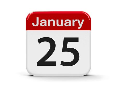 fifth: Calendar web button - The Twenty Fifth of January, three-dimensional rendering, 3D illustration Stock Photo