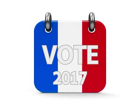 Vote election 2017 calendar icon as french flag - represents the Election Day 2017 in France, three-dimensional rendering, 3D illustration