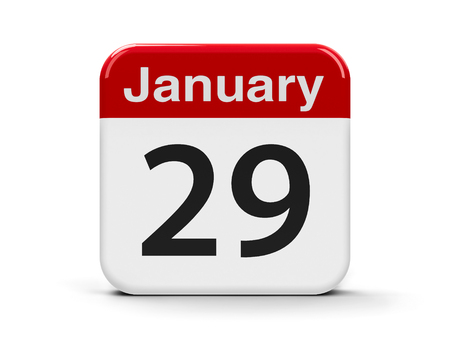 ninth: Calendar web button - The Twenty Ninth of January, three-dimensional rendering, 3D illustration