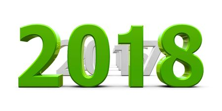 Green 2018 come represents the new year 2018, three-dimensional rendering, 3D illustration Stock Photo