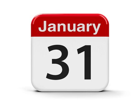 Calendar web button - The Thirty First of January, three-dimensional rendering, 3D illustration Stock Photo