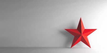 threedimensional: Red star on grey background, three-dimensional rendering, 3D illustration Stock Photo