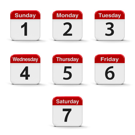 buttons web: Calendar web buttons - Days of the week, three-dimensional rendering, 3D illustration