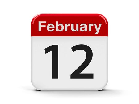 mon 12: Calendar web button - The Twelfth of February - International Day of Marriage Agencies, Lincolns Birthday and Red Hand Day, three-dimensional rendering, 3D illustration Stock Photo