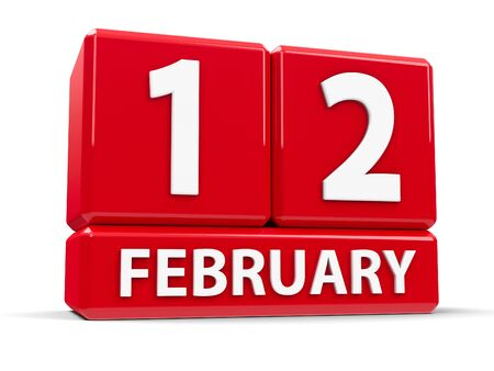 mon 12: Red cubes - The Twelfth of February - on a white table - International Day of Marriage Agencies, Lincolns Birthday and Red Hand Day, three-dimensional rendering, 3D illustration