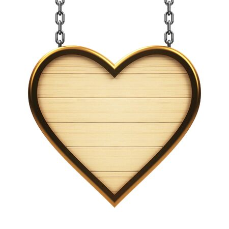 Wooden heart signboard on chain isolated on white background, three-dimensional rendering, 3D illustration Stock Photo