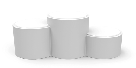 threedimensional: Blank white cylinder podium without numbers of rank places, three-dimensional rendering, 3D illustration