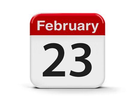 20 23 years: Calendar web button - The Twenty Third of February, three-dimensional rendering, 3D illustration