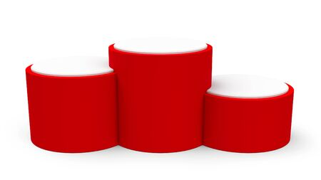 threedimensional: Blank red cylinder podium without numbers of rank places, three-dimensional rendering, 3D illustration