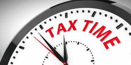 ingresos: Reloj negro con tiempo de impuestos, representación tridimensional, ilustración 3D Foto de archivo