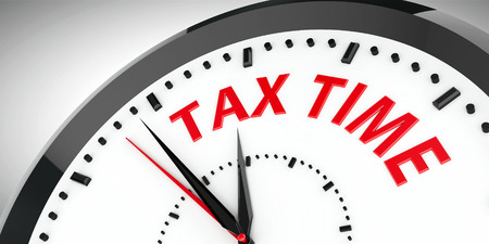 Black clock with Tax time, three-dimensional rendering, 3D illustration