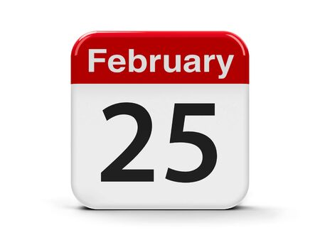 twenty fifth: Calendar web button - The Twenty Fifth of February - National Day in Kuwait, three-dimensional rendering, 3D illustration Stock Photo