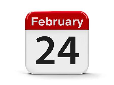 calendar day: Calendar web button - The Twenty Fourth of February - Flag Day in Mexico, three-dimensional rendering, 3D illustration