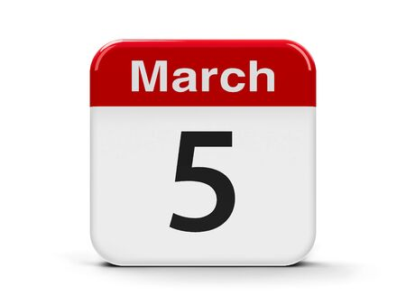 fifth: Calendar web button - The Fifth of March, three-dimensional rendering, 3D illustration