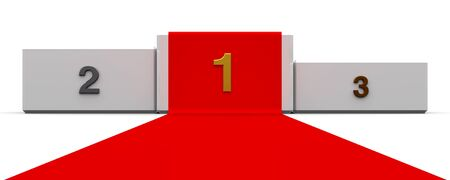 White podium with three rank places and red carpet, three-dimensional rendering, 3D illustration