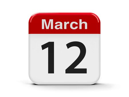 mon 12: Calendar web button - The Twelfth of March, three-dimensional rendering, 3D illustration Stock Photo