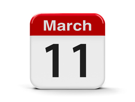 eleventh: Calendar web button - The Eleventh of March, three-dimensional rendering, 3D illustration