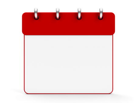 Blank calendar icon with rings, three-dimensional rendering, 3D illustration