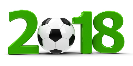 Green 2018 with football isolated on white background, represents World Cup 2018 - Russia football championship, three-dimensional rendering, 3D illustration Stock Photo