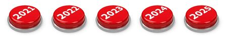 Red 2021, 2022, 2023, 2024, 2025 buttons isolated on white background, three-dimensional rendering, 3D illustration