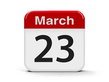 20 23 years: Calendar web button - The Twenty Third of March - World Meteorological Day, three-dimensional rendering, 3D illustration Stock Photo