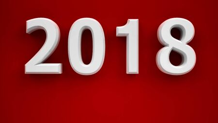 New year 2018 on red background, three-dimensional rendering, 3D illustration Stock Photo