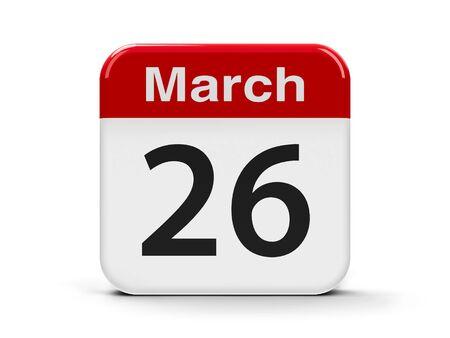 calendar day: Calendar web button - The Twenty Sixth of March - Purple Day, three-dimensional rendering, 3D illustration