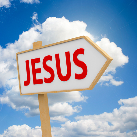 Three-dimensional rendering of Jesus banner on the blue sky represents coming Easter, 3D illustration Stock Photo
