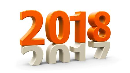 2017-2018 change represents the new year 2018, three-dimensional rendering, 3D illustration Stock Photo