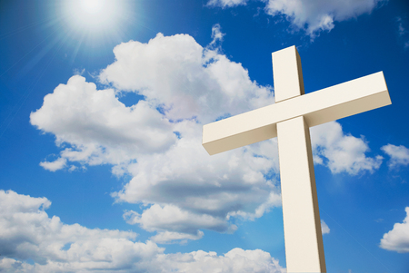 White wooden cross on the blue sky, three-dimensional rendering, 3D illustration