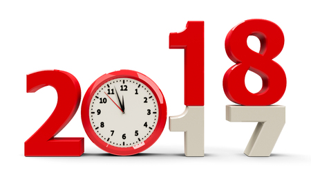 El cambio 2017-2018 con esfera de reloj representa el nuevo año 2018, representación tridimensional, ilustración 3D
