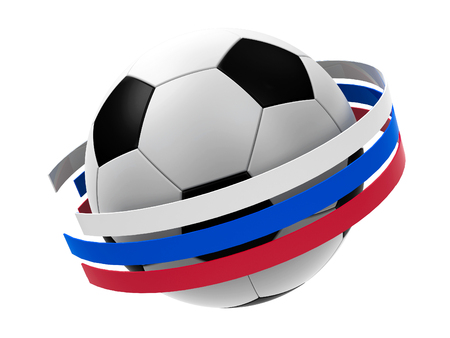 Football with stripes in the form of russian flag isolated on white background, represents World Cup 2018 - Russia football championship, three-dimensional rendering, 3D illustration Reklamní fotografie